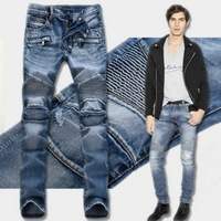 Hot Fashion Washed Ripped Mens Motorcycle Jeans Distressed Skinny Biker Jeans Men Straight Pleated Denim Pants
