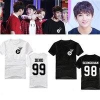 2016 Korean Star Kpop SEVENTEEN 17 T Shirt Black Short Sleeve White Clothes Seventeen K Pop