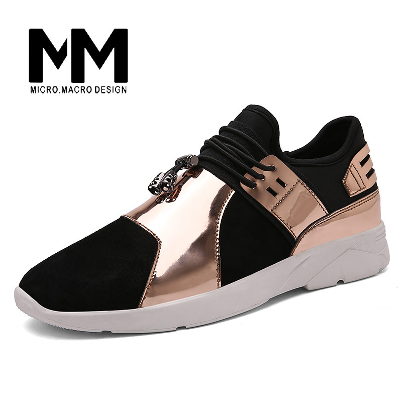 MICRO. MACRO Gold Men  Casual Shoes Brand shoe Footwear high top Fashion Breathable  Elastic band  Walking Casual Shoe 1062 micro micro 2017 men casual shoes comfortable spring fashion breathable white shoes swallow pattern microfiber shoe yj a081