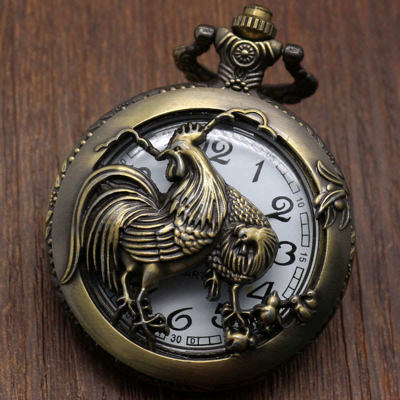 Hollow Rooster Deep Thinkers The Chinese Zodiac Vintage Bronze Steampunk Pocket Watch P910