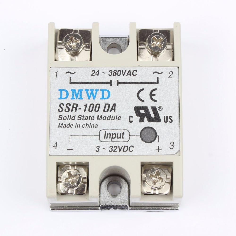 TOP BRAND DMWD 1pcs solid state relay SSR-100DA 100A SSR 100DA 3-32V DC TO 24-380V AC relay solid state normally open single phase solid state relay ssr mgr 1 d48120 120a control dc ac 24 480v