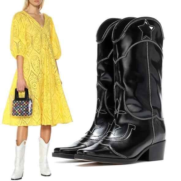 Batı Tarzı Cut Out Nakış Şövalye Çizmeler Kare Ayak Siyah hakiki Deri Kadınlar için Diz Yüksek Çizmeler orta buzağı botas