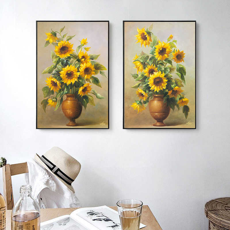 American Style Golden Flower Painting Wall Art Canvas Sunflower Picture Living Room Canvas Poster Print for Bedroom Art Print