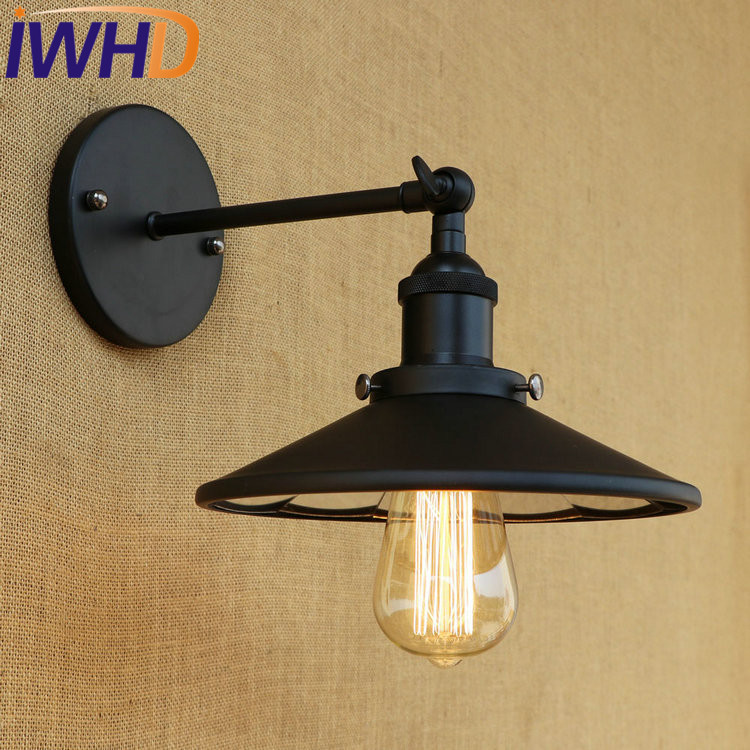 купить IWHD Retro Edison Wall Sconce Loft Industrial Wall Lamp Iron Mirror Glass Vintage Wall Light Fixtures Indoor Lighting Arandela по цене 4351.84 рублей