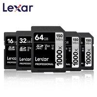 Lexar 32GB 64GB SDHC 128 gb 256GB SDXC U3 memoria flash Card 150MB/s Class 10 1000X carte SD Memory Card For 3D 4K video Camera