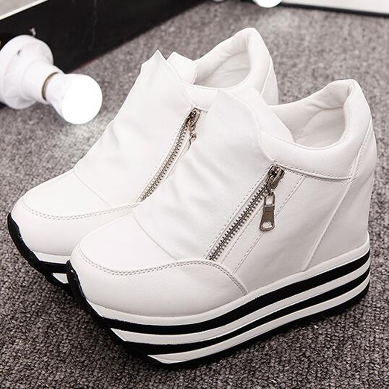 Ultra High Heels 12cm Women s Elevator Shoes Casual Zipper Wedges Punk Pumps women shoes