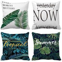 Tropical leaves Cushion Cover 45x45 Simple Home Decor Chair Car Couch Decorative Throw Pillowcase Sofa Cushion Covers 50X50cm цены