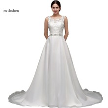 ruthshen Wedding Dresses Cheap With Sheer O-Neck Lace Appliques Beaded Sash Draped Tulle A Line Vestidos Baratos Under 100(China)