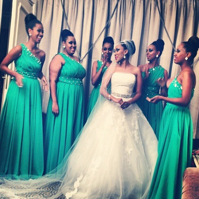 2015 Modest Green Bridesmaid Dresses Long Chiffon Beaded One ...