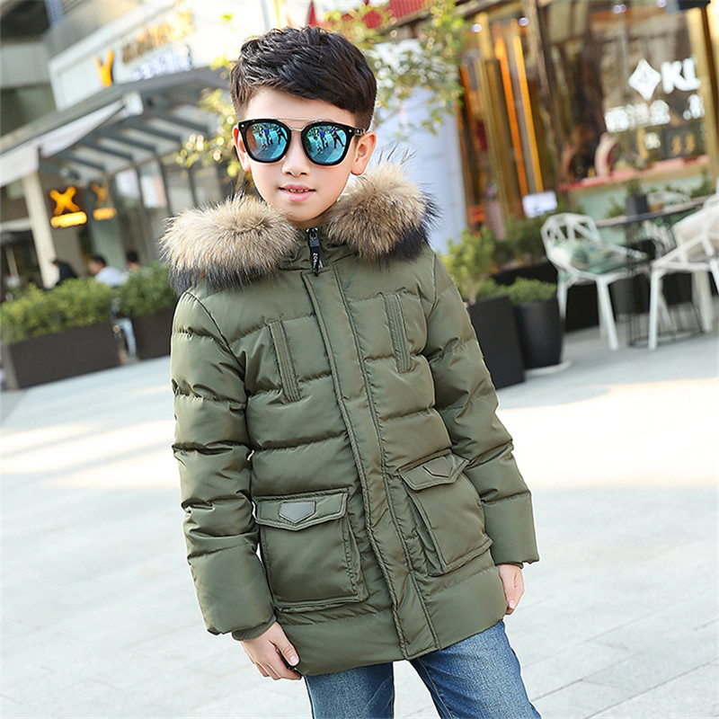New Winter Boys Warm Thick Jackets Kids Hooded Snowsuits Outerwears Teenage Down Coats Children Clothing Baby Infant Parkas P289