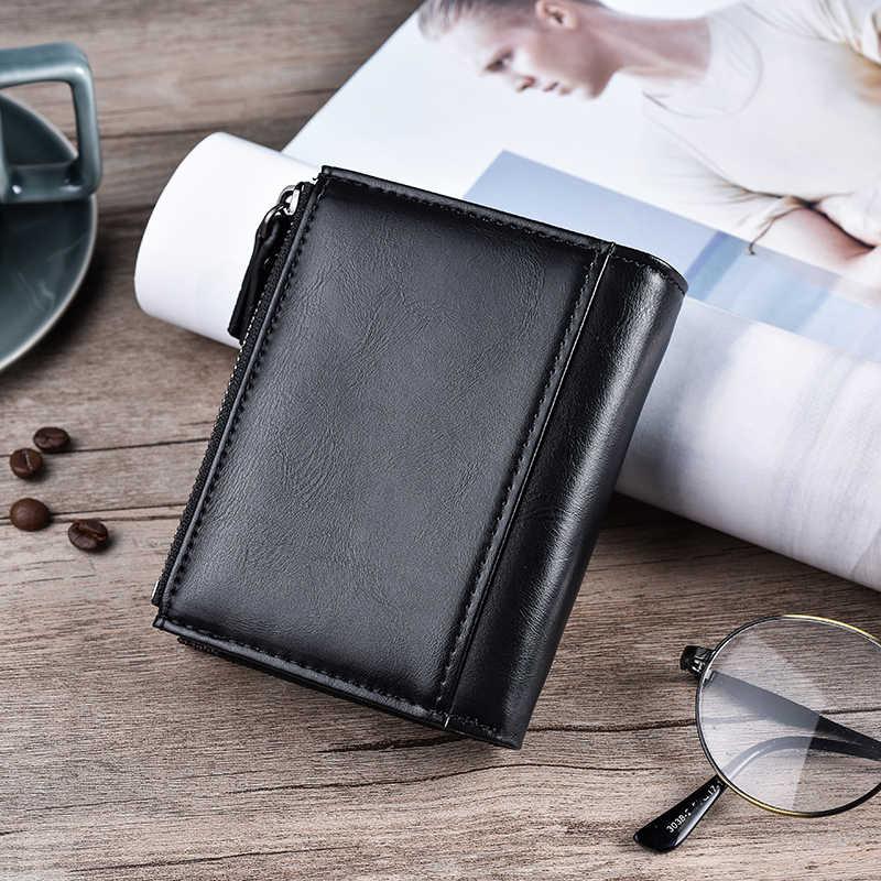 JINBAOLA мужской кошелек брендовый кошелек с двойной молнией и застежкой дизайн маленький кошелек мужской Высококачественный короткий держатель карт кошелек бумажник