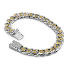 Personality gold and silver mixed color bracelet. Fashion 100% Solid 925 Silver 10mm21cm Men's Bracelet. Men silver jewelry gift