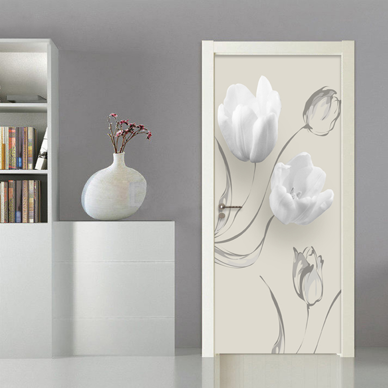 Modern Simple White Flowers Door Sticker Living Room Bedroom PVC Self-Adhesive Waterproof Mural Wallpaper For Walls 3 D Stickers