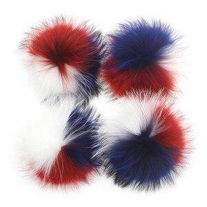 Image 5 - Pompons en vraie fourrure de Raccon 15 16cm, bonnet, bonnet tricoté, foulards en fourrure véritable, vente en gros