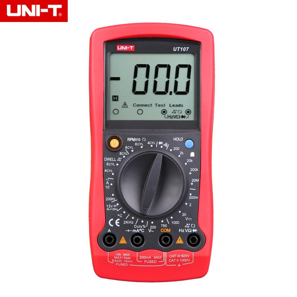 UNI-T UT107 LCD automobile multimètre tenu dans la main AC/DC voltmètre testeur mètres avec pause, tr/min, vérification de la batterie