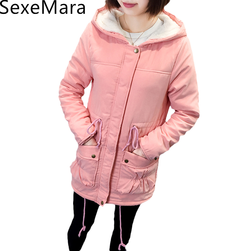 New 2017 Winter Coat Women Slim Plus Size Outwear Medium-Long Wadded Jacket Thick Hooded Cotton Fleece Warm Cotton Parkas BC539 new 2016 winter cotton coat women slim outwear medium long wadded jacket thick hooded cotton wadded warm cotton parka plus size