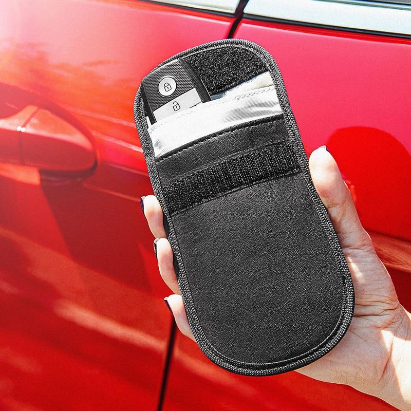 1Pc Car Key Faraday Bag Car Fob Signal Blocker Signal Blocking Bag Shielding Pouch Wallet Key Case Privacy Protection