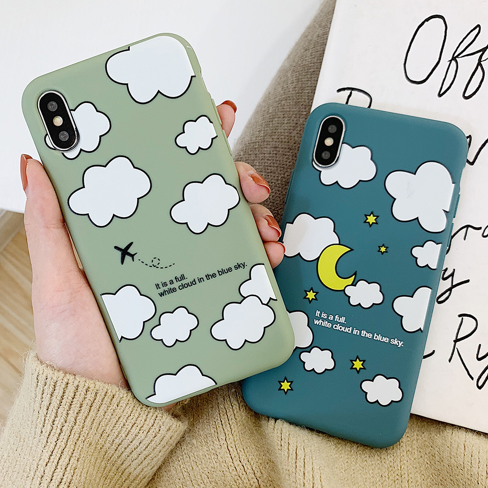 KIPX1114_7_JONSNOW Matte Phone Case for iPhone XS Max X XR Cases White Clouds Pattern Soft Silicone Cover for iPhone 6 6S 6P 7 8 Plus