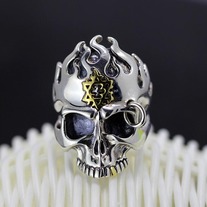 S925 silver jewelry demon God of the dead men's silver domineering Skull Ring Jewelry jewelry free shipping man s925 sterling silver jewelry silver jewelry jewelry red corundum skull ring new free shipping