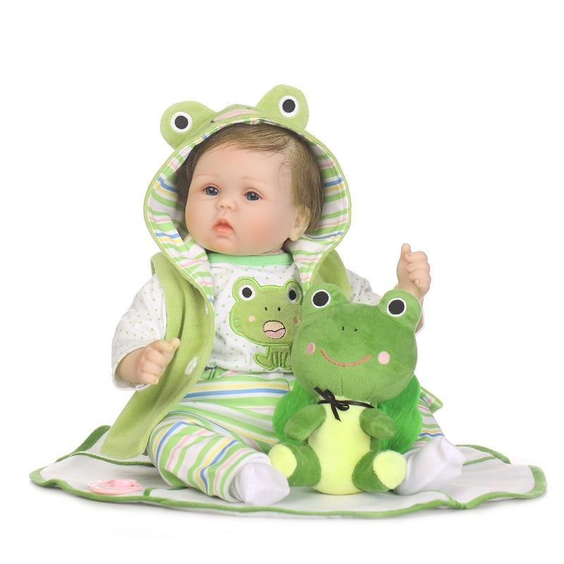 Nicery 20-22inch 50-55cm Bebe Doll Reborn Soft Silicone Boy Girl Toy Reborn Baby Doll Gift for Children Green Frog Lovely Doll 55cm 22inch lovely baby reborn doll toy soft vinyl silicone reborn baby dolls finished doll
