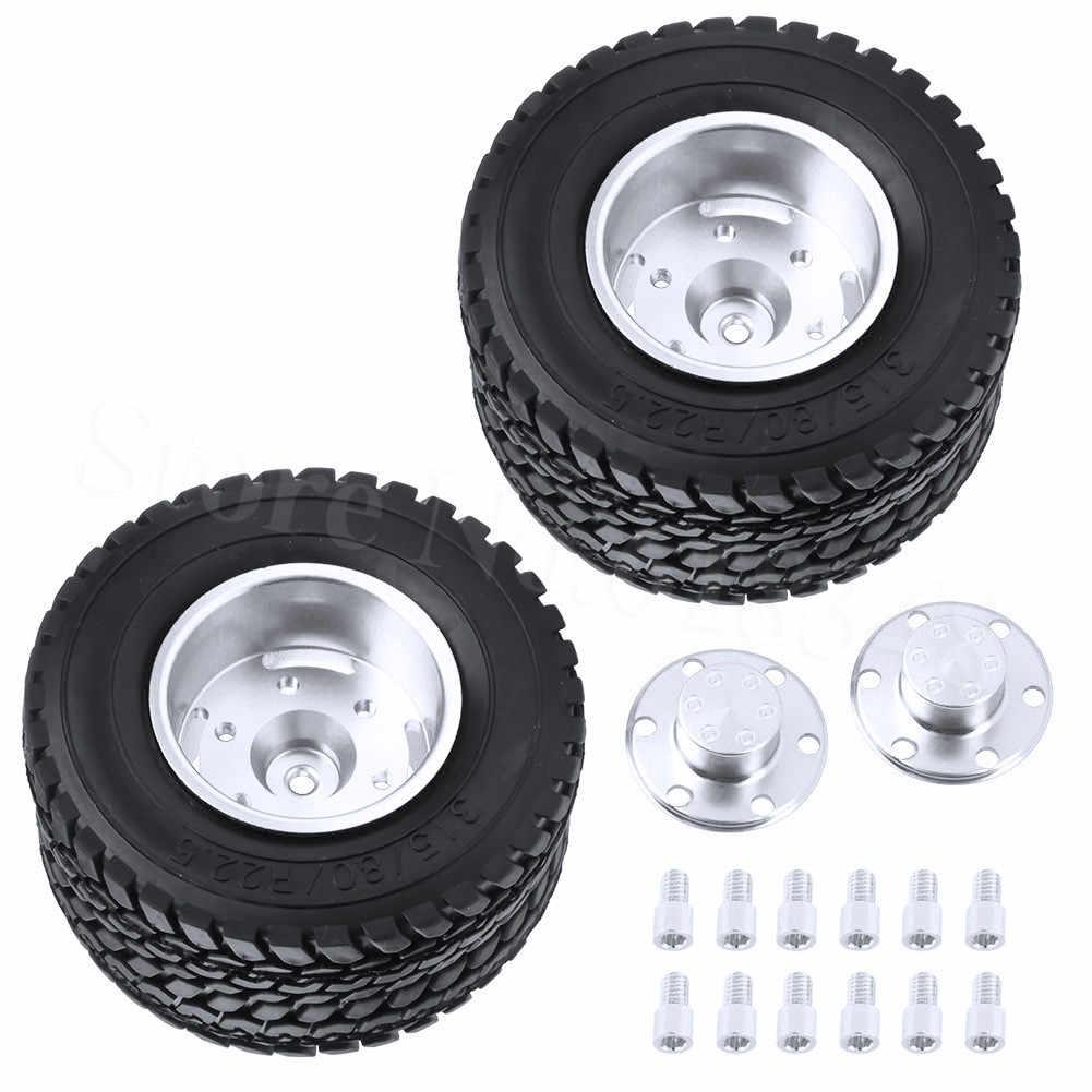 2 Pcs/lot Twin Aluminium Roda & Ban Tamiya 1/14 RC Tractor Trailer Truk Ban Meng-upgrade Bagian Op Pengganti