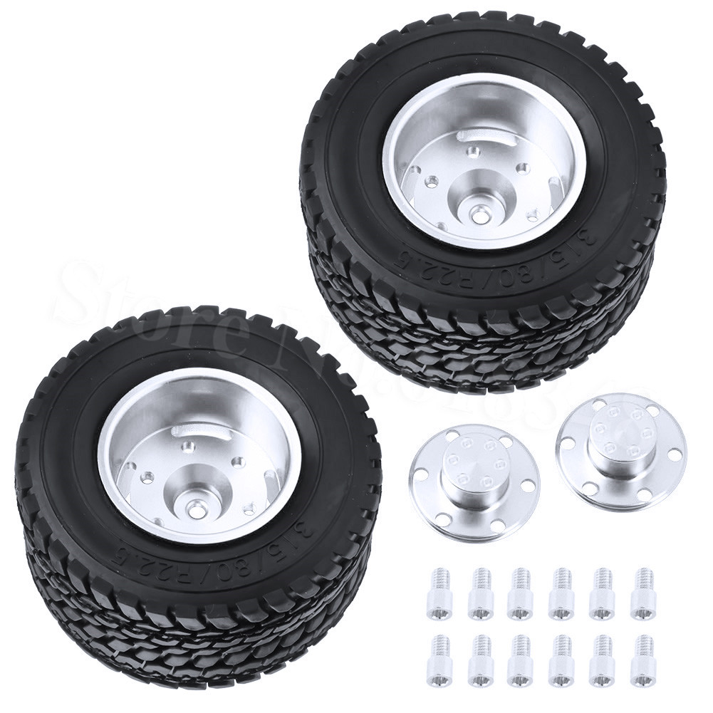 2pcs Lot Twin Aluminum Wheels Tires For Tamiya 1 14 Rc Tractor Trailer Truck Tyres Upgrade Parts Op Replacement In Accessories From Toys Hobbies