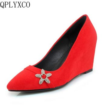 QPLYXCO Fashion Women Pumps Genuine leather 2018 High Heels Wedges Platform Pumps Women Elegant Wedge Wedding Shoes woman 9032
