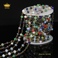 4x6mm 5 meters Sale Multi-color Glass Faceted Rondelle Beads Jewelry Chains,Rosary Style Plated Bronze Wire Wrapped Link HX002