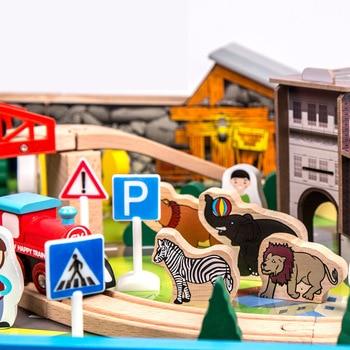 детский автомобильный трек | Высокое качество 108 шт. поезд трек Строительный набор деревянных столов с мультяшный грузовик автомобили лес животное движение сцена модел...