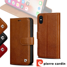 For Apple iPhone X Pierre Cardin Genuine Leather Phone Wallet Flip Stand Card Case Cover iPhoneX Free Shipping