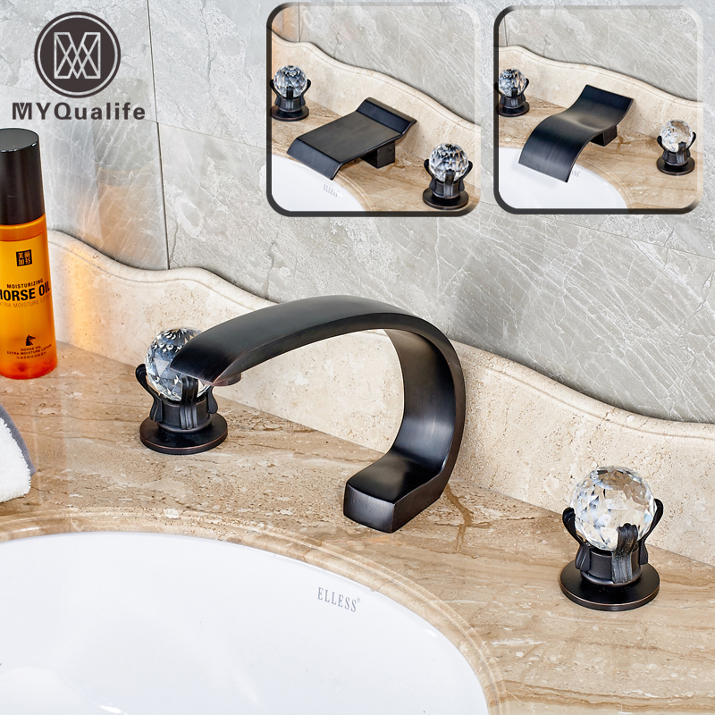 2016 New Dual Crystal Knobs Deck Mount Waterfall Bathroom Sink Faucet Widespread Bath Mixer Tap