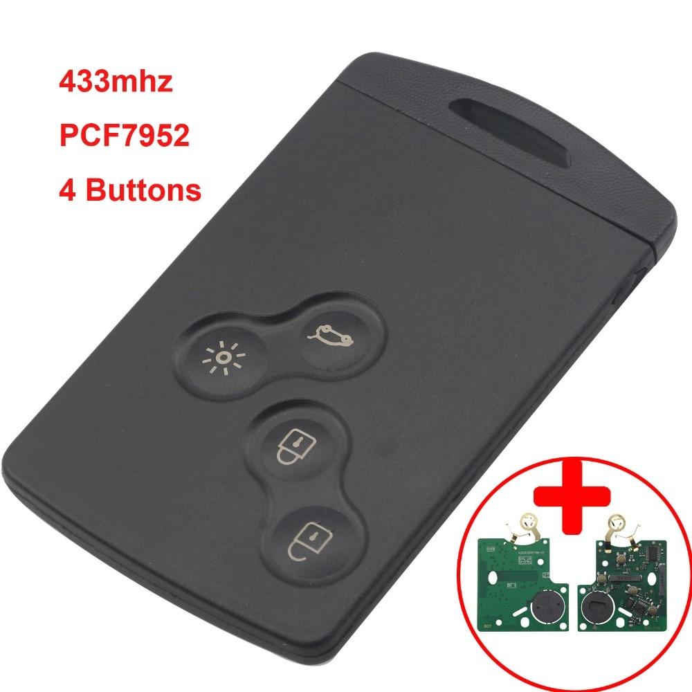 jingyuqin 4 Buttons Remote Key Smart Card Car Key Fob 433MHZ PCF7952 Chip For Renault Megane Scenic Laguna Koleos Clio