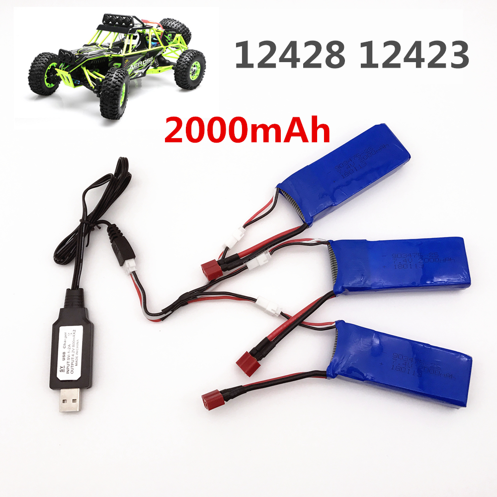 high capacity 7.4V <font><b>2000mAh</b></font> for Wltoys 12428 12423 1:12 RC Car <font><b>Lipo</b></font> battery 903475 <font><b>2S</b></font> 7.4V <font><b>2000mah</b></font> 25C Max 50C RC Car Spare parts image
