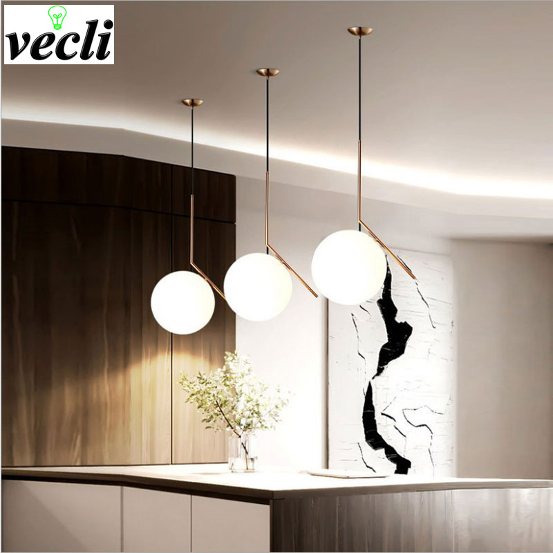 Nordic LED Chandelier Living Room Bedroom Bar Clothing Shop Lighting Glass Ball Creative Home Lighting Fixtures AC110V/220V