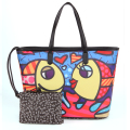 ROMERO BRITTO High Quality 2016 New Color graffiti Pattern Printing Women PU Leather Big Handbag Fashion graffiti Women Handbags