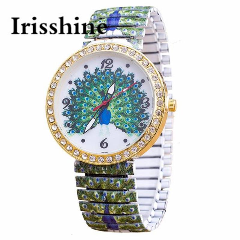 1704bad366b5 Irisshine de la marca de lujo de señora chica mujeres relojes elasticidad  Pavo Real psiquiatra de pulsera de cuarzo reloj de pulsera reloj Masculino   080