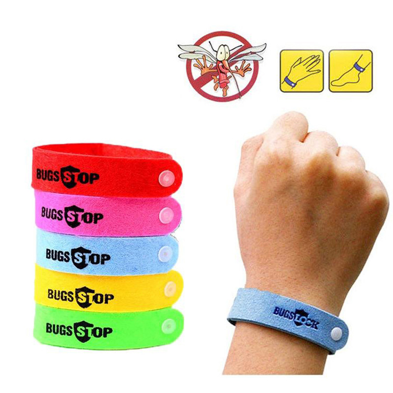 10Pcs Anti Mosquito Bug Repellent Wrist Band Bracelet Insect Bangle Lock Camping