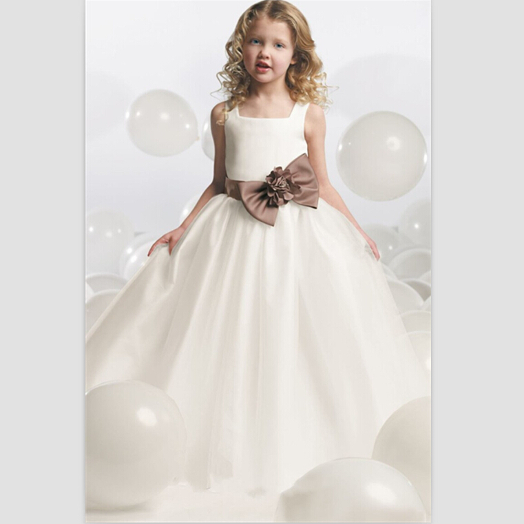 2015 White Satin   Flower     Girl     Dresses   For Weddings Spaghetti Flor Menina Vestidos Para Casamentos Vestidos De Comunion Prom Child