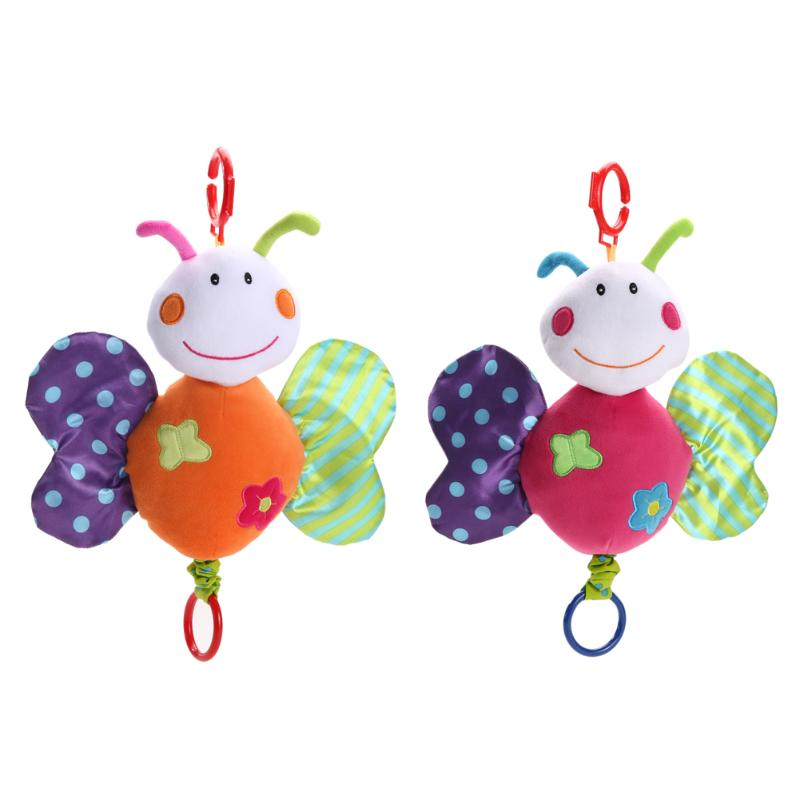 Soft Baby Plush Butterfly Rattle Ring Bell Toy Cute Carton Crib Bed Hanging Animal Plush Music Playing Children Birthday Gift