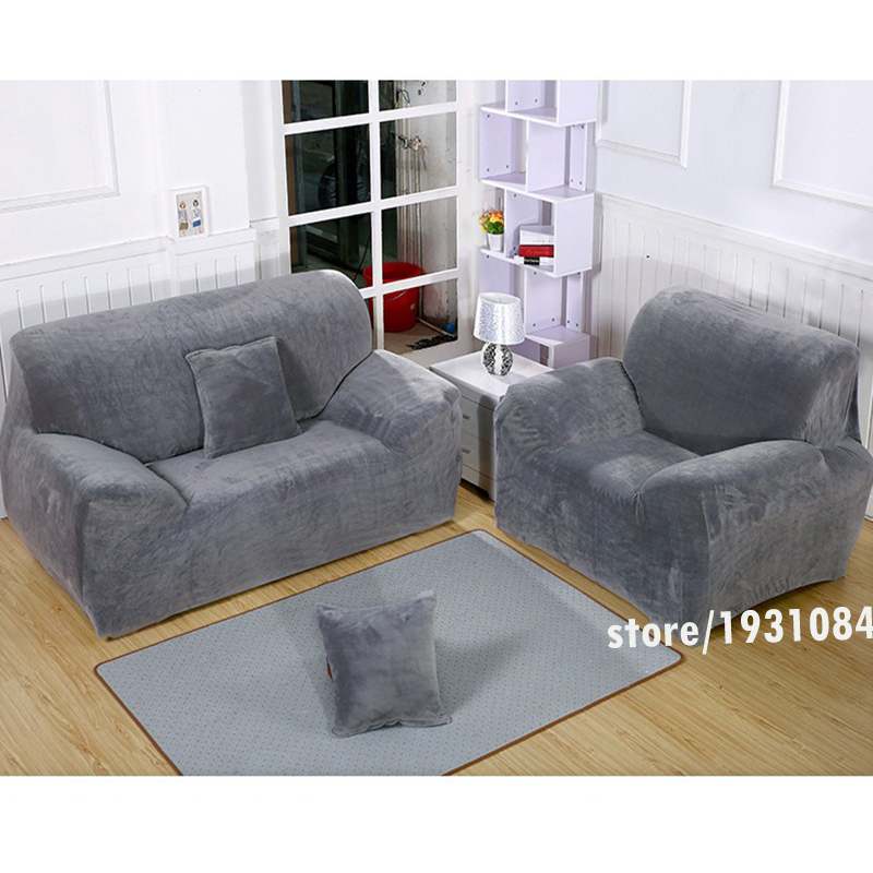 Winter Grey Sofa Cover Plus Velvet Fabric Elastic Slipcover Slip ...