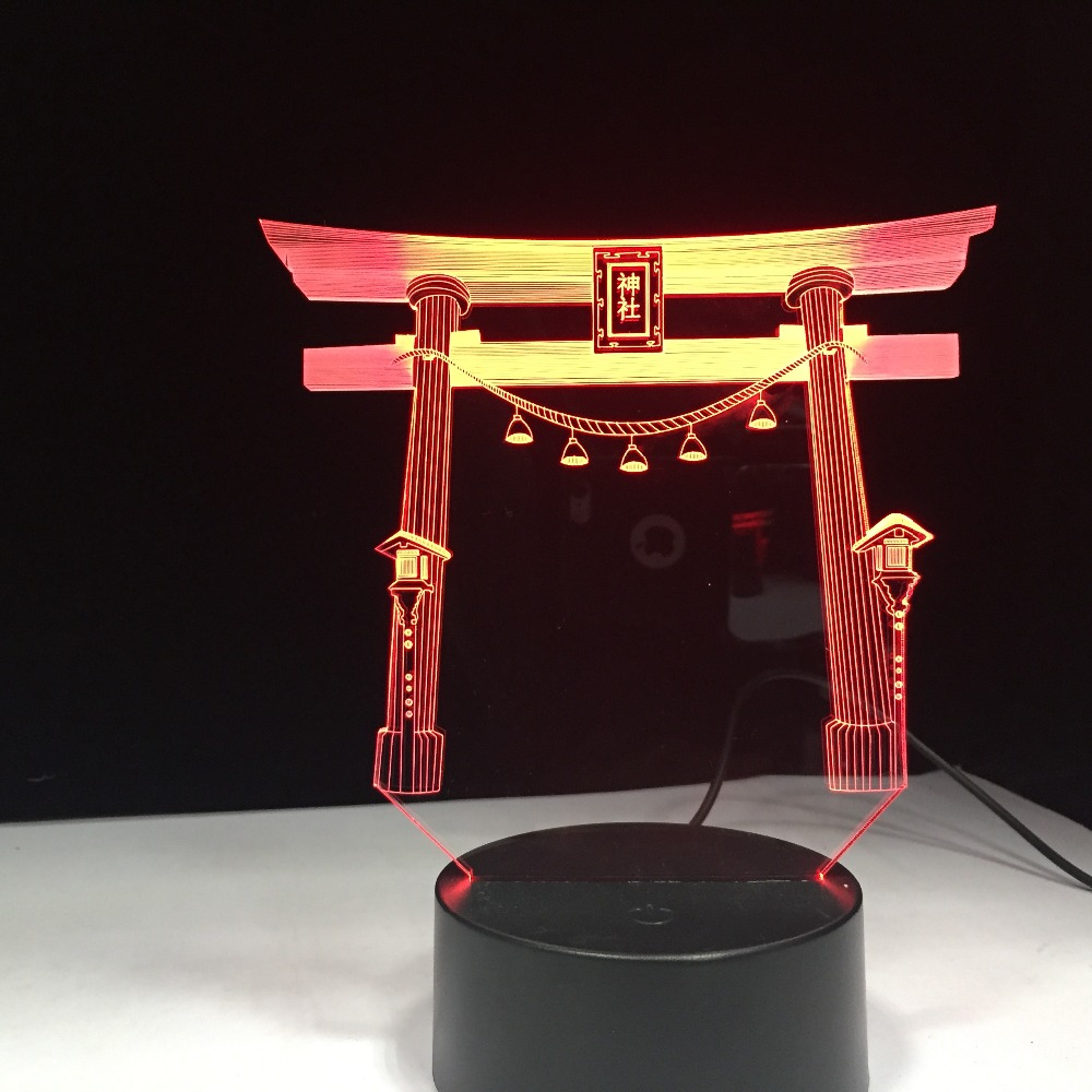 Japan Japanese Shrine Jinja USB 3D Led Night Light Multicolor RGB Festival Gift Decorative Lights Desk Lamp Bedroom Drop Ship