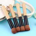 Professional Synthetic Hair Bamboo Foundation Brush Blush Round Angled Concave Flat Top Base Liquid Cosmetic Makeup Brush