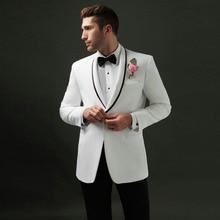 Italy White Men Suits Groom Wedding Man Blazers Tuxedo Black Shawl Lapel 2Pieces Coat Pants Slim Fit Terno Masculino