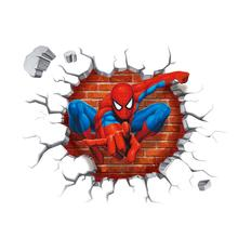 Marvel Movie 3Dview Spiderman Wall Stickers for Kids Rooms decals Home Decor wallpaper Mural For Boys Room