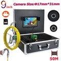MOUNTAINONE 9 дюймов DVR HD 17 мм промышленная труба канализационная инспекционная видеокамера система IP68 1000 TVL камера с 8 светодиодами 8G 40m 50m
