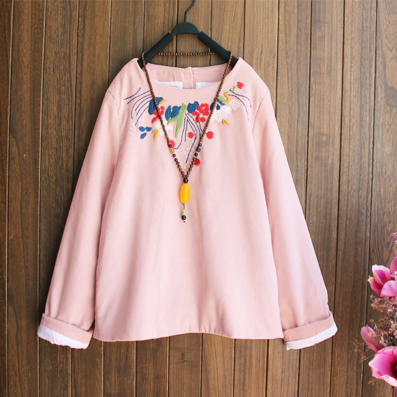 Corduroy Cotton Autumn Winter Shirt Warm Long Sleeve Retro Embroidery Floral Women Tops And Blouses Ethnic