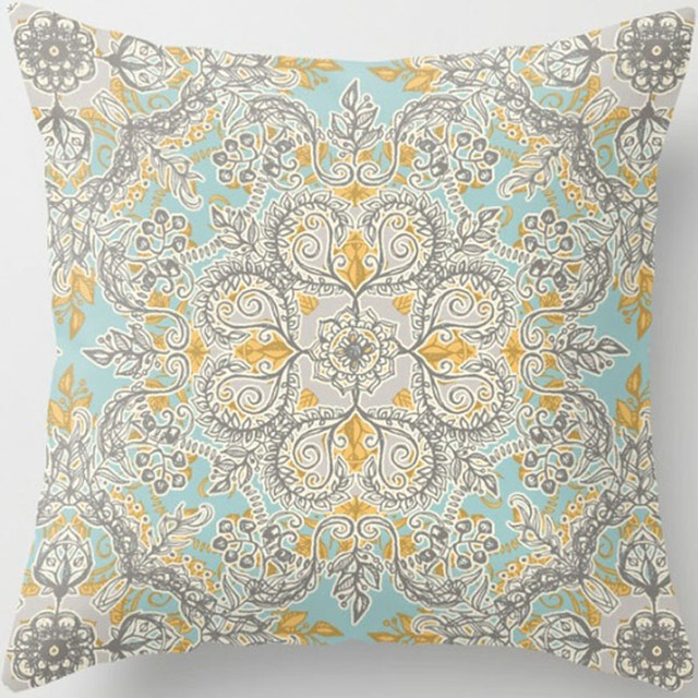 Flower Pillow Case Cotton Linen Chair Seat and Waist Square 18 Inches Letter Geometric Pattern Pillow Cover Home Living Textile