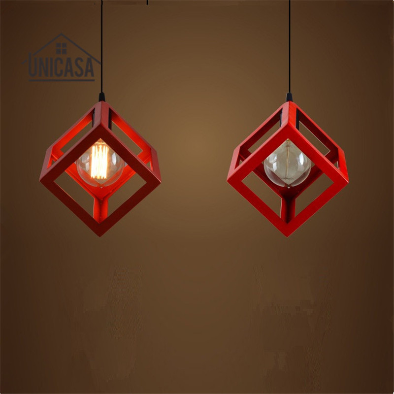 Vintage Pendant Lights Red Shade