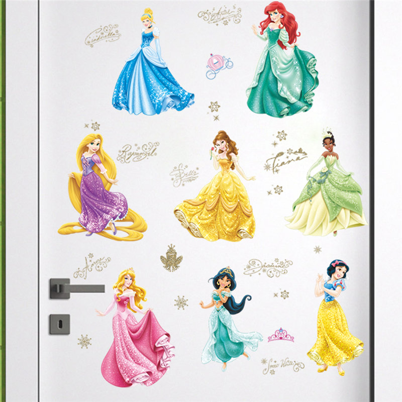 Snow White Cinderella Princess Wall Stickers Girls Room Decoration Cartoon Mural Art Diy Home Decals Posters Children Kids Gift in Wall Stickers from Home Garden