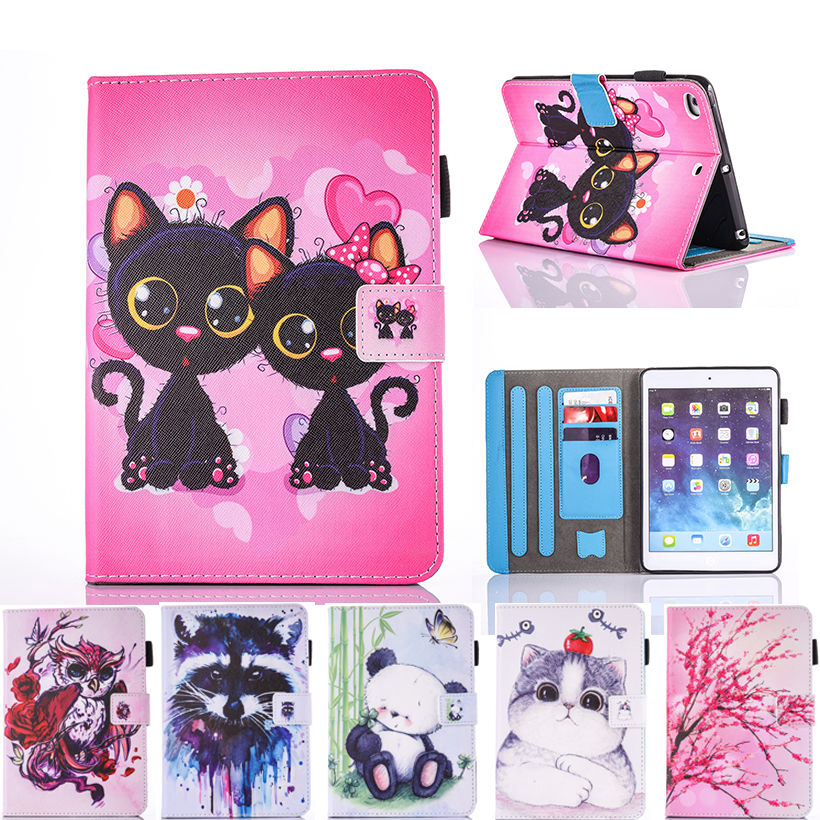 Fashion Cartoon Silicone PU Leather Case For Apple iPad Mini 1 2 3 4 7.9 Smart Case Cover Funda Owl Dog Cat Pattern Stand Shell for apple ipad air 2 pu leather case luxury silk pattern stand smart cover